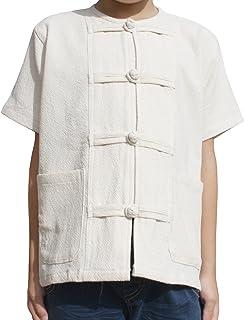 RaanPahMuang Mixed Cotton Shirt Childs Open Collar Frog Button Short Sleeve