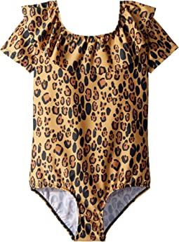 mini rodini Leopard Short Sleeve Swimsuit (Infant/Toddler/Little Kids/Big Kids)