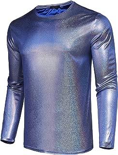 Men's Nightclub Sequins Shiny Metallic Fashion Long Sleeve T-Shirt