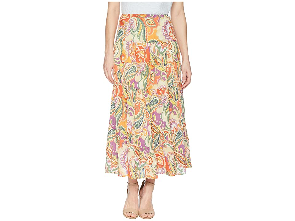 CHAPS Tiered Cotton Maxi Skirt (Orange Multi/Perri Paisley) Women
