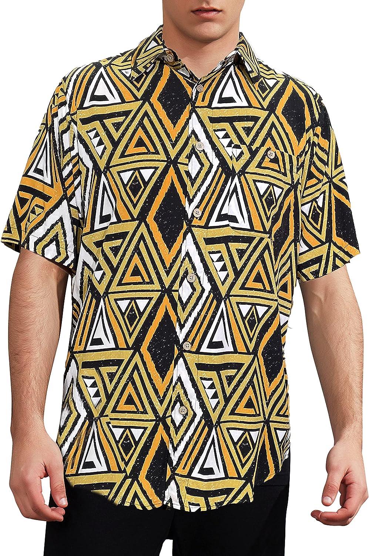 Gochange Men's Casual Button-Down Shirts for Men Short Sleeve Woven Shirt Hawaiian Floral Soft Rayon Regular Fit