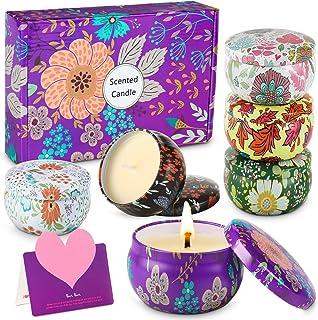 WONSEFOO 6pcs Bougie Parfumée Ensemble Cadeau, Bougies en Cire De Soja Naturelle pour L'aromathérapie, Bath, Yoga,Cadeau N...