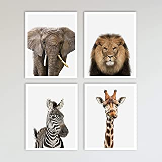 4 Piece Color Safari Zoo Animal Nursery Set - Elephant, Lion, Zebra & Giraffe Prints - Neutral Wall Decor, Baby Shower Gift & Kids Bedroom Animal Wall Decor 4 Piece Set, 11 x 14 inches each Unframed