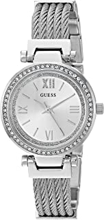 GUESS Women's Stainless Steel Casual Wire Bangle Bracelet Watch