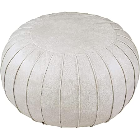 """Thgonwid Unstuffed Handmade Faux Suede Pouf Footstool Ottoman Cover Poufs 23"""" x 14"""" -Round Floor Storage Cushion Covers for Living Room, Bedroom or Wedding Gifts (Beige)"""