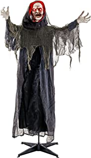 Halloween Haunters Life-Size Animated Standing Speaking Scary Reaper of Death Prop Decoration - Animatronic Motion Turning Head and Moving Arms, Evil Face, Red Light Up Eyes - Haunted House Graveyard