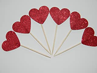 24 Red Glitter hearts heart cupcake toppers food picks birthday party décor wedding shower supplies