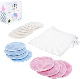 16 PACK Reusable Makeup Remover Bamboo Cotton Pads - Organic Cotton Rounds - Laundry Bag Included - Zero Waste and Chemical Free Face Wipes - 2 Layers of Organic Bamboo Velour Cloth