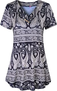 Women's Short Sleeve/Sleeveless Floral Printed Flare Swing Tunic Top