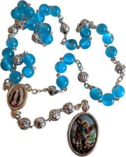 Chaplet Rosary of Saint Michael Archangel Blue Beads 15 inc