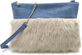 Two-tone Faux Fur And Texture Leather Shoulder Bag For Women