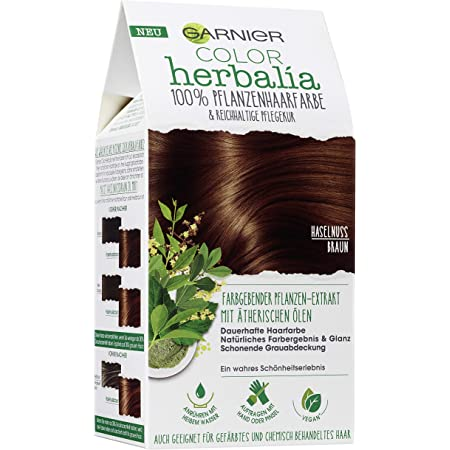 Garnier Color Herbalia - Tinte de pelo vegetal, color marrón avellana, 100% vegetal, vegano, 3 unidades