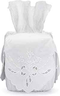 Tissue Box Cover White Linen Square with Richelieu