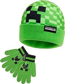 MINECRAFT Set Invernale Bambino Cappello Guanti Caldo e Comodo, Set Beanie e Guanti Bambini Unisex Motivo Creeper Verde, O...