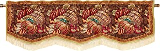 """HomeCrate Fall Harvest Collection, Bushel Basket Pumpkins Apples and Grapes Design, Tapestry 60"""" x 15"""" Window Valance"""