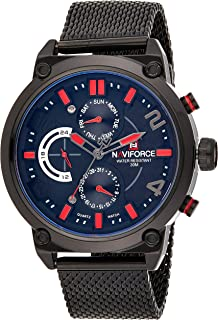Naviforce Men's Black Dial Stainless Steel Analogue Classic Watch - NF9068S-BRB