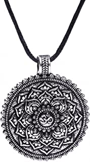 (Antique Silver) - Wicca Flower of Life OM Yoga Balance of Life Round Coin Pendant Necklace