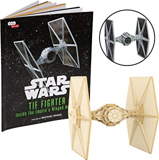 Star Wars Tie Fighter Book and 3D Wood Model Figure Kit - Build, Paint and Collect Your Own Wooden Movie Toy Model - for Kids and Adults, 12+ - 4.5