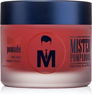 Mister Pompadour Fireball Pomade | Water-Based Pomade For Men | Firm Hold and Medium Shine | Cinnamon Scent | Natural Ingredients | 2oz