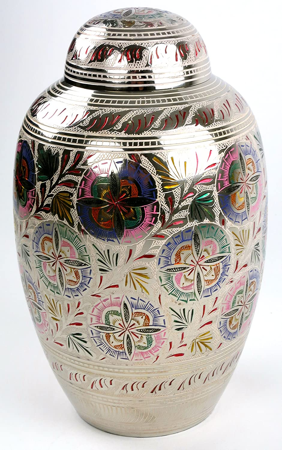 Lattice Flower Funeral Urn by Liliane Memorials - Cremation Urn for Human Ashes - Hand Made in Brass - Suitable for Cemetery Burial or Niche - Large Size fits remains of Adults up to 200 lbs - Florale