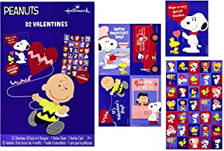 Hallmark Peanuts Valentines Day Cards for Kids, Charlie Brown (32 Valentine Cards, 35 Stickers, 1 Teacher Card)