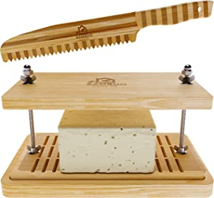 Bamboo Home Life Tofu Press - Bamboo Knife Included - Doubles as Cheese Press or Paneer Press - Easily Remove Water With Drip Tray, No Plastic Bamboo Tofu Press