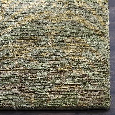 Tapis rectangulaire d'intérieur boho noué à la main, collection Bohémien, BOH631, en vert / or, 122 X 183 cm pour le salon, la chambre ou tout autre espace intérieur par SAFAVIEH.
