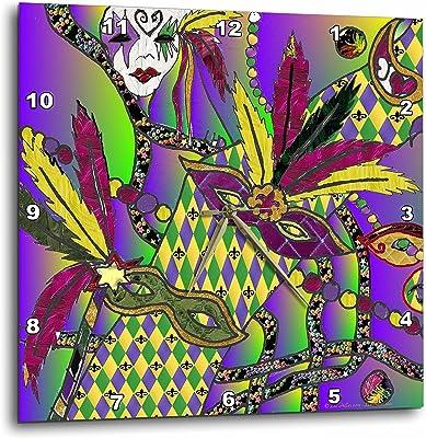 13 by 13-Inch 3dRose dpp/_24637/_2 Groovy Rainbow Design-Wall Clock
