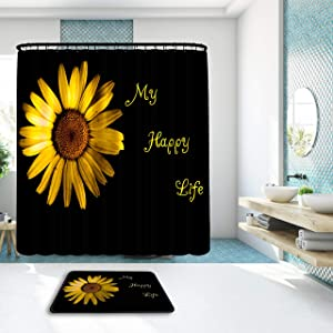 My Happy Life Sunflower Shower Curtain Set w/ Memory Foam Carpet, Sunflower Bathroom Set, Floral Shower Curtain, Quality Sunflower Bathroom Decor, 71