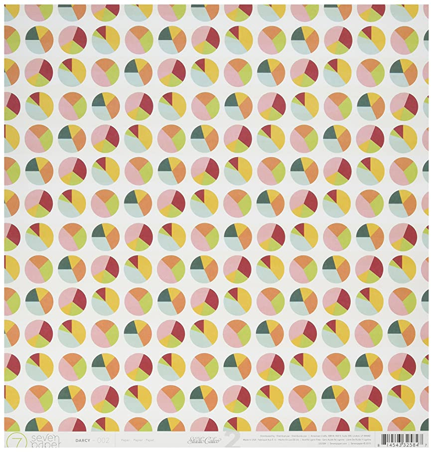 American Crafts 332584 25 Sheet Color Wheels/Wide Yellow Stripes Seven Paper Darcy Double-Sided Cardstock No.2, 12