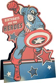 Hallmark Marvel Stand Up Birthday Card 'Captain America' - Medium