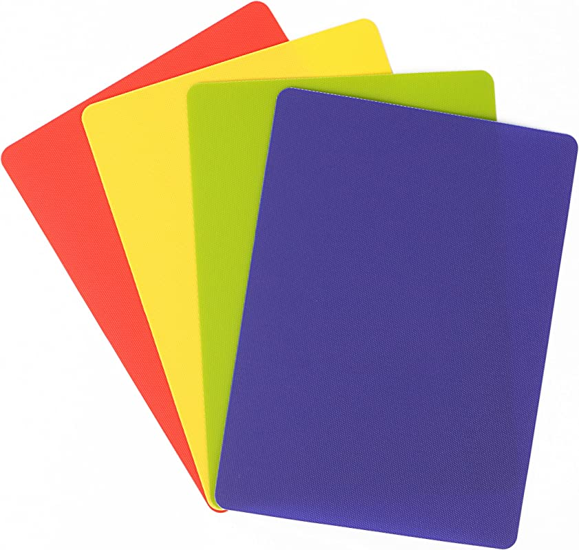 Dexas Heavy Duty Grippmat Flexible Cutting Board Set Of Four 8 By 11 Inches Blue Green Yellow Red