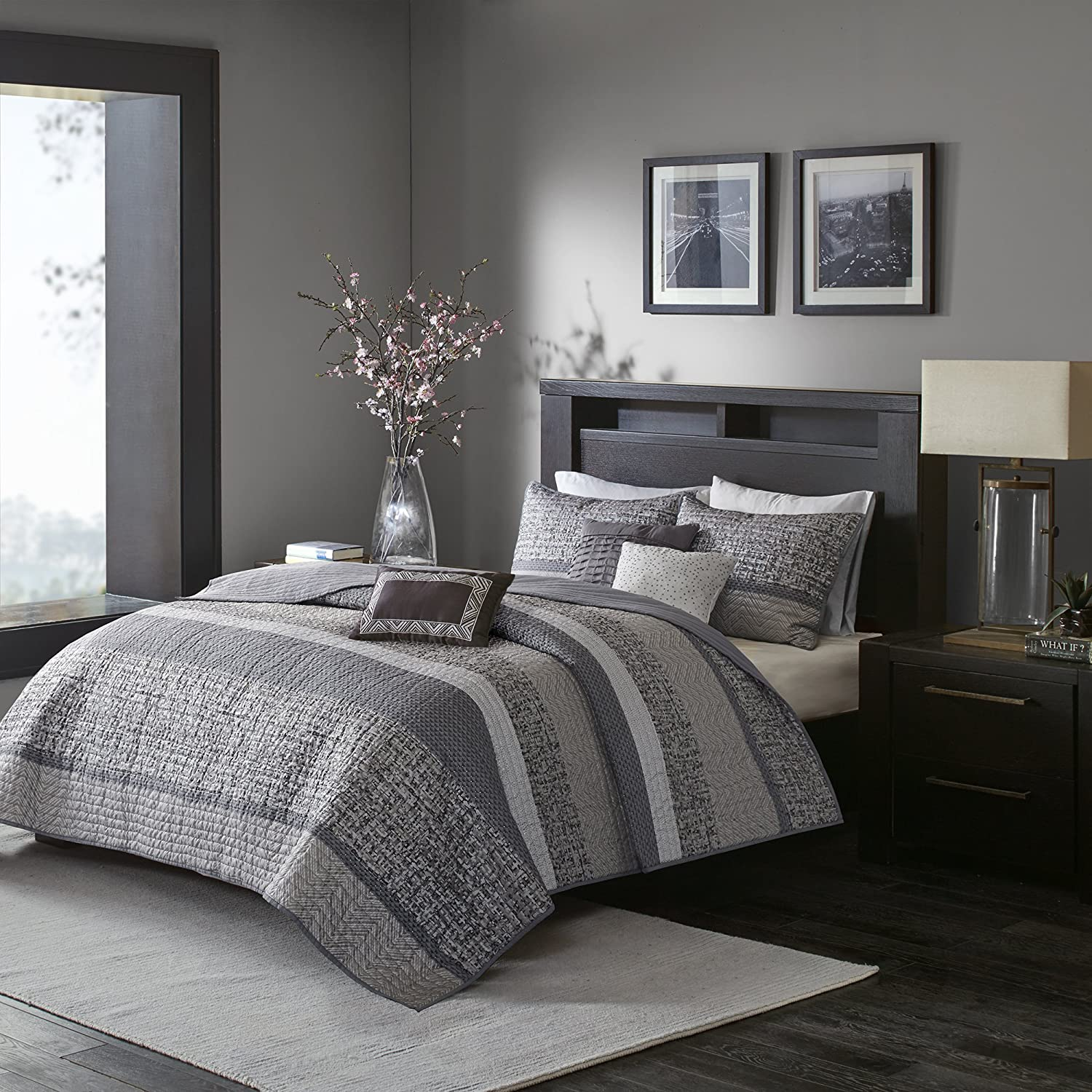 Madison Park Rhapsody Full Queen Size Quilt Bedding Set - Grey, Striped – 6 Piece Bedding Quilt Coverlets – Ultra Soft Microfiber Bed Quilts Quilted Coverlet