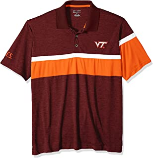 NCAA Virginia Tech Hokies Mens NCAA Men's Short Sleeve Striped Polo Collared Teechampion NCAA Men's Short Sleeve Striped Polo Collared Tee, Maroon, Medium