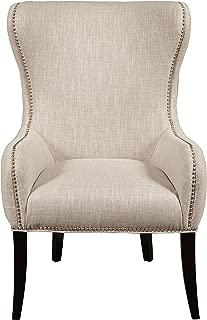 Pulaski Traditional Upholstered Wing Back Arm Chair, White Seraphine Mink, Medium