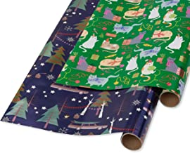 Papyrus Holiday Foil Wrapping Paper, Playful Cats, Cars and Trees (2 Pack)
