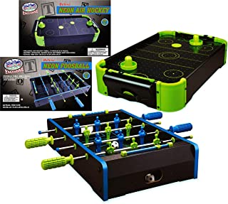 Matty's Toy Stop Deluxe Wooden Mini Tabletop NEON Air Hockey (Extra Pucks) & NEON Foosball (Soccer) (Extra Balls) Games Gi...