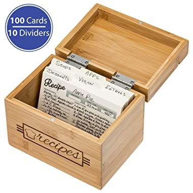 Recipe Box with Cards and Dividers, 100 Cards, 10 Dividers, and Recipe Holder - 4x6 Recipe Cards and Dividers Included | Eco Friendly Bamboo Wood | Lovely Design | Recipe Card Organizer Storage Box
