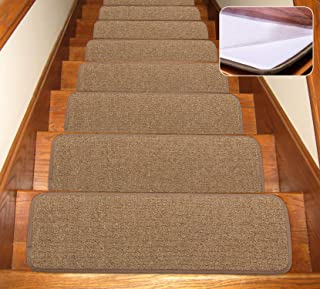 Seloom Self-Adhesive Carpet Stair Treads Non Slip Stair Rugs/Covers Rubber Backing for Indoor Wooden Steps(30×8 in,13pcs), Pure Brown