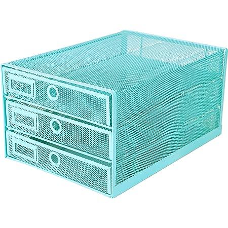 Exerz Organiseur maillé 3 tiroirs/Module de Classement/Trieur de Papier/Organiseur Multifonctionnel de Bureau(Turquoise)