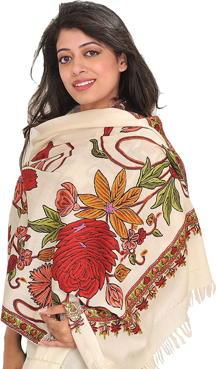 Exotic India Stole from Kashmir with Hand Ari-Embroider