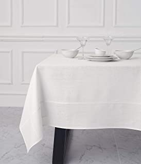 Solino Home Medium Weight Pure Linen Tablecloth – 70 x 70 Inch, 100% Linen Levo Table Cover – Handcrafted from European Flax – White