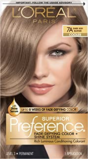 L'OrÃal Paris Superior Preference Fade-Defying + Shine Permanent Hair Color, 7A Dark Ash Blonde, Hair Dye Kit (Pack of 1)