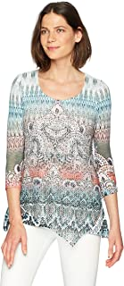 OneWorld Women's Plus-Size 3/4 Sleeve Textured Knit Overlay Top