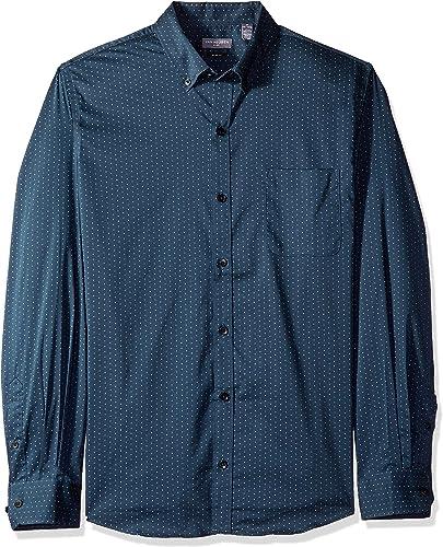 Van Heusen Hommes's Slim Fit Flex Stretch Non Iron Shirt, Turquoise Seabed Minidot, petit Slim