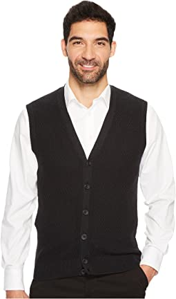 Perry Ellis - Solid Textured Button Front Sweater Vest