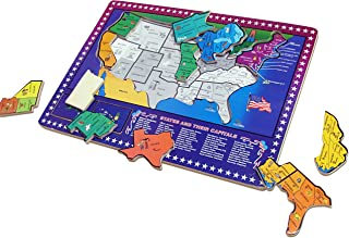 Dazzling Toys USA Map Puzzle | 50 States and Capitals Educational Wooden United States Map Puzzle