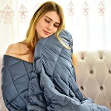 WONAP Cooling Weighted Blanket | 100% Natural Bamboo with Premium Glass Beads | 15 lbs | 60