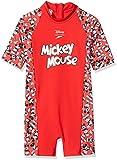 Speedo Kinder Disney Mickey Mouse Einteiliger Badeanzug, Risk Rot/Schwarz/Weiß,