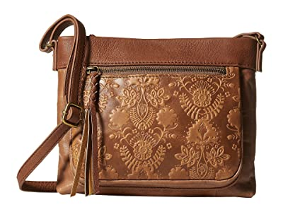 The Sak Sanibel Mini Crossbody (Tobacco Floral Emboss) Cross Body Handbags